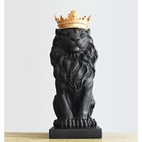 皇冠狮子摆件北欧客厅酒柜电视柜装饰品现代简约书桌艺术品