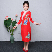 新款女童旗袍儿童连衣裙女童唐装旗袍中国风童装长款旗袍裙   可礼品卡支付