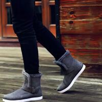 冬季款日常休闲雪地靴男棉靴毛靴黑色 潮男短筒靴子冬天男款加绒保暖皮靴高中学生短筒青年