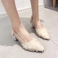 尖头高跟鞋女春款时尚韩版百搭浅口半透明粗跟性感社会温柔风单鞋