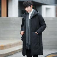 羽绒服男2017冬季新款青年中长款韩版纯色连帽外套加厚保暖上衣潮 黑色