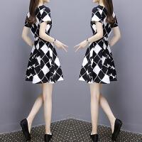 2018夏装新款修身显瘦气质时尚格子雪纺中长款短袖连衣裙女 黑白格子裙XY