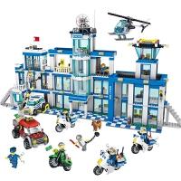 小颗粒积木城市特警系列警察总局0200儿童益智玩具