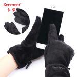卡蒙触屏手套女冬防滑骑车短款手套加厚毛绒保暖手套男冬户外手套 2836