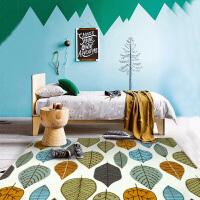 清新森系树叶客厅地毯 北欧风格沙发茶几地垫卧室床前脚垫 怀旧美叶