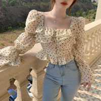 波点雪纺衬衫女设计感小众泡泡袖上衣春夏装新款复古显瘦长袖衬衣