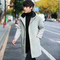 日系呢子外套男毛呢大衣韩版修身连帽中长款秋冬装潮流原宿风衣男