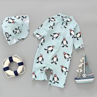 儿童泳衣连体企鹅可爱男女童小中童宝宝防晒游泳衣泳裤套装
