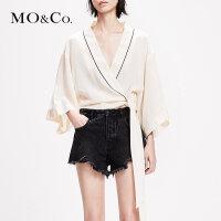 MOCO2019春季新品和服短裁V领绑带真丝上衣MAI1TOP026 摩安珂