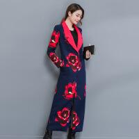 实拍欧美风衣女长款过膝外套 韩版时尚印花气质大码薄款外套 图片色