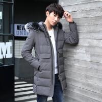 冬款韩版男士潮流加厚加绒中长款外套真毛毛领青少年修身款羽绒服