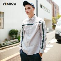 VIISHOW2017秋装新品休闲长袖衬衫男纯棉不对称条纹装饰男士衬衣