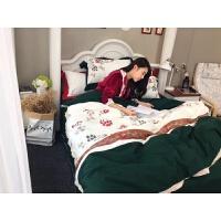 家纺秋冬季全棉磨毛刺绣四件套加厚1.5m1.8米公主风纯棉时尚被套床品