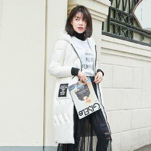 高梵2017冬季新款韩版抽绳连帽中长款羽绒服女 时尚收腰保暖外套