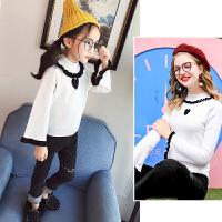 毛针织衫女童2018春季新款韩版荷叶边宽松长袖毛衣亲子装