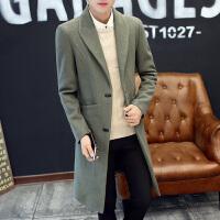 男士韩版中长款风衣男秋冬季加厚长款毛呢子大衣潮流个性加长外套