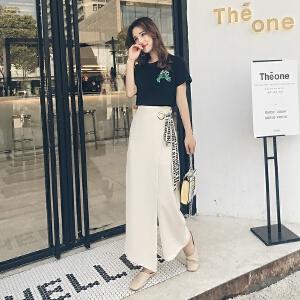 2018夏装新款时尚休闲九分裤套装女韩版印花T恤高腰阔腿裤两件套