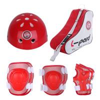 溜冰鞋护具儿童轮滑护具男女滑板护具套装溜冰鞋护具 红色护具套装 小码S