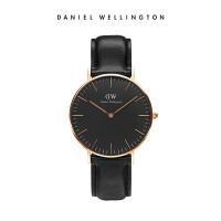DanielWellington手表女 DW手表 36mm进口皮带石英女表黑表盘腕表