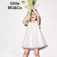 【折后价:239.6】littlemoco夏季新品女童连衣裙圆领红蓝撞色边无袖网纱公主裙