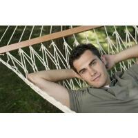 摇摇吊床网床户外野营用品单人网状透气挂树钓悠吊网床 有棍 130股【宽1米2】米色+绑绳