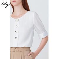 【2件4折到手价:219.6元】 Lily20夏新款时尚简约白色纽扣圆领套头衫雪纺衫短袖衬衫女8970