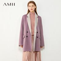 【折后价:615元/再叠券】Amii极简通勤时髦大码纯羊毛双面呢女年新款宽松撞色毛呢大衣
