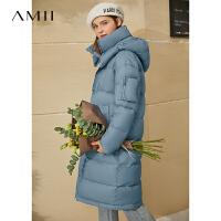 Amii极简韩版白鸭绒长款羽绒服年新款宽松连帽大码加厚外套女
