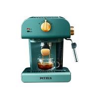 柏翠 (petrus)咖啡机 家用复古意式半自动 20bar泵压式打奶泡机 PE3320