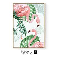 春天生机火烈鸟装饰画三联画沙发后面的挂画粉色羽毛绿叶餐厅墙画