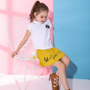 米奇丁当女童夏季清新套装裙淑女2018新款儿童时尚短袖裙子两件套