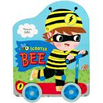 #英国进口纸板车轮玩具书 Scooter Bee 小蜜蜂滑板车语句押韵培养孩子观察能力激发阅读兴趣撕不破纸板0-6岁