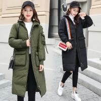 PU皮女中长款冬装新款韩版百搭修身毛领加厚棉衣棉袄外套 B1275黑色