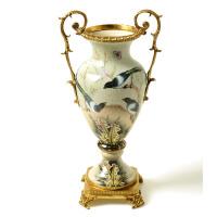 欧式陶瓷摆件客厅餐桌茶几花瓶玄关摆件铜包瓷复古花瓶器花插