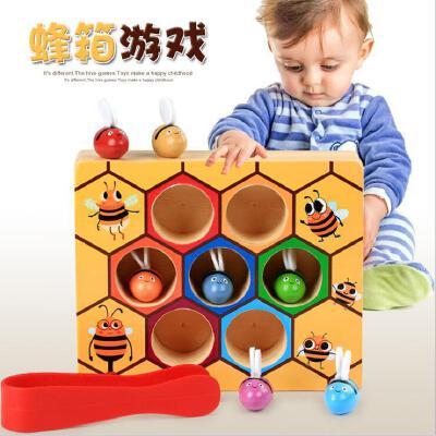 儿童早教玩具 木质勤劳的小蜜蜂 蜂箱游戏抓虫游戏颜色认知0-6岁