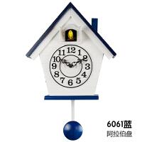 【品牌热卖】布谷鸟钟表欧式实木简约创意石英钟咕咕钟卧室地中海客厅儿童挂钟 12英寸
