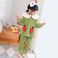 儿童睡衣珊瑚绒秋季长袖女童小女孩大童套装家居服