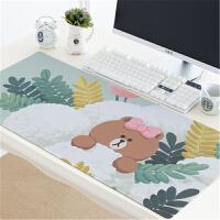 七夕礼物 鼠标垫超大号布朗熊胶垫可爱女生电脑键盘笔记本办公写字台大桌垫