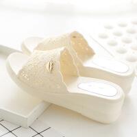 夏季女式厚底坡跟凉拖鞋女士居家塑料防滑浴室拖鞋室内外沙滩拖鞋