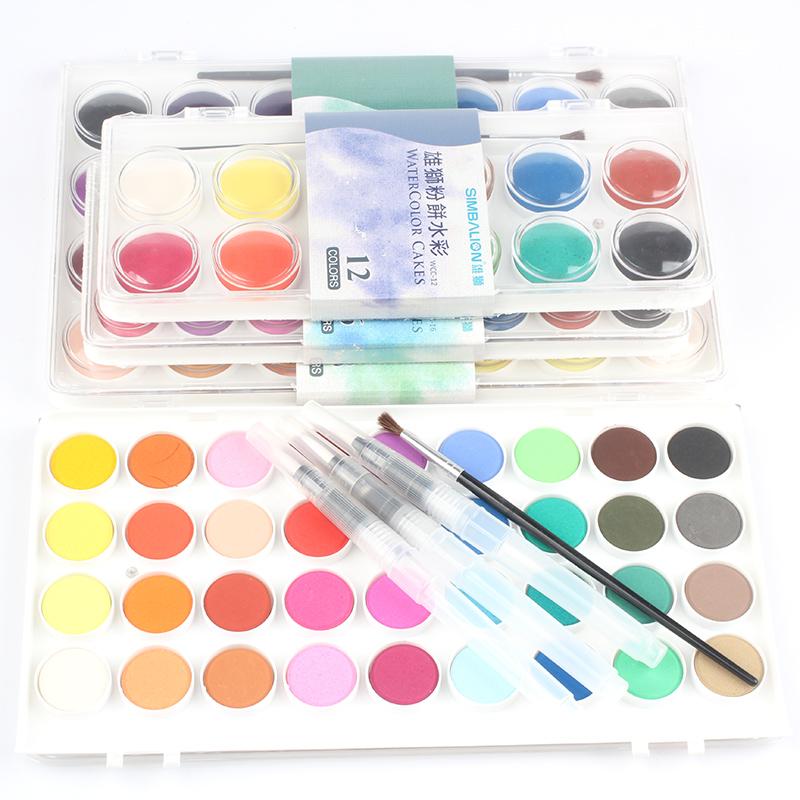 雄狮 水粉画颜料初学者 儿童手绘学生固体水彩粉饼 水彩颜料 36色