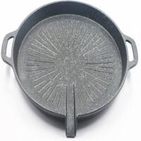 电陶炉烧烤盘不粘无烟烧烤盘麦饭石烤盘卡式炉烤盘烤肉锅电磁炉盘 圆形加厚电磁炉烤盘 送夹子烤肉纸