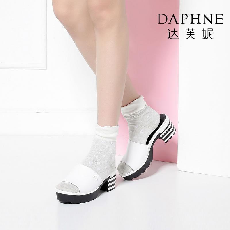 Daphne/达芙妮Vivifleurs露趾时尚撞色方跟厚底拖鞋