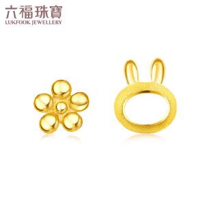 六福珠宝网络专款足金Floret兔子黄金耳钉耳饰    GDGTBE0007
