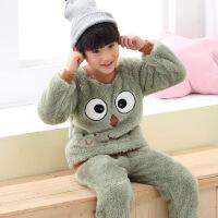 儿童法兰绒睡衣套装秋冬加厚珊瑚绒卡通小男孩女童保暖长袖家居服