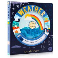 Turn and Learn: Weather 天气探索认知 转盘操作玩具书 英文原版进口绘本 少儿童科普百科 幼儿英