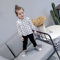 女童衬衫2018春装新品中小童百搭娃娃领爱心宽松衬衣宝宝上衣 潮