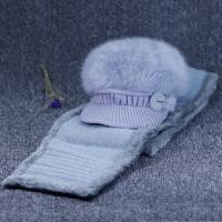 冬天兔毛帽女士加绒毛线帽冬季老年人帽子女蝴蝶结针织老年帽妈妈