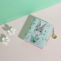 新款短款小钱包卡通可爱零钱包学生折叠皮夹子钱袋c 米菲兔绿