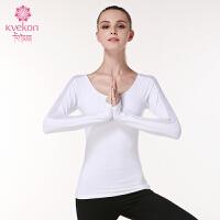 瑜伽服长袖上衣 运动健身服T恤女秋冬含胸垫拼网纱弹力紧身专业