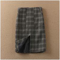 春季新品中长裙开叉包臀加厚中腰格子毛呢半身裙女22965
